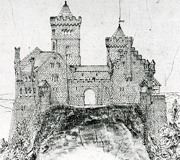 Picture: View of a castle, pen-and-ink drawing