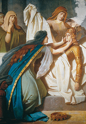 "Picture: Mural ""Gudrun's lament over Sigurd's body"""