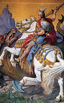 "Picture: Mural ""St George killing the dragon"""